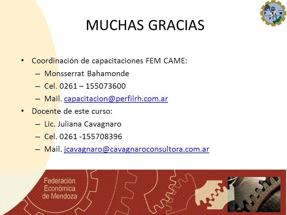 MUCHAS GRACIAS Coordinación de capacitaciones FEM CAME: – Monsserrat Bahamonde – Cel. 0261 – 155073600 – Mail. capacitacion@perfilrh.com.arcapacitacio
