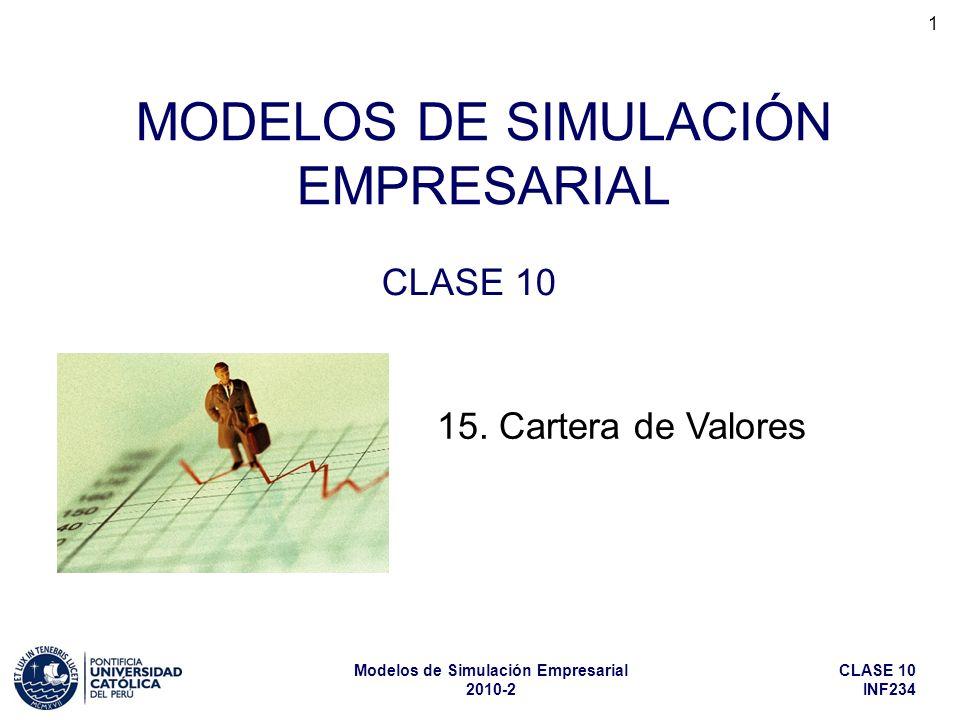 CLASE 10 INF234 Modelos de Simulación Empresarial 2010-2 1 MODELOS DE SIMULACIÓN EMPRESARIAL CLASE 10 15.