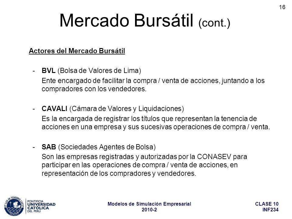 CLASE 10 INF234 Modelos de Simulación Empresarial 2010-2 16 Actores del Mercado Bursátil -BVL (Bolsa de Valores de Lima) Ente encargado de facilitar la compra / venta de acciones, juntando a los compradores con los vendedores.