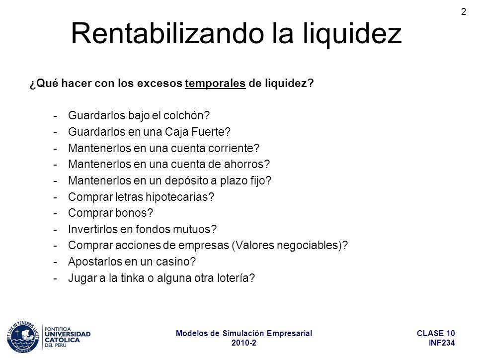 CLASE 10 INF234 Modelos de Simulación Empresarial 2010-2 2 ¿Qué hacer con los excesos temporales de liquidez.