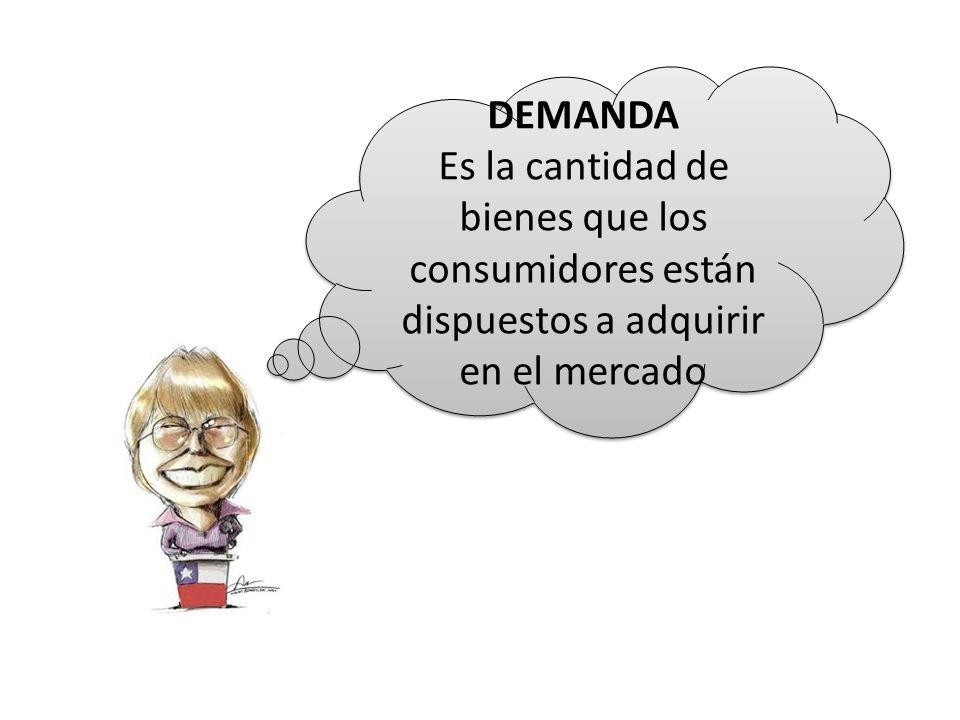DEMANDA Es la cantidad de bienes que los consumidores están dispuestos a adquirir en el mercado DEMANDA Es la cantidad de bienes que los consumidores