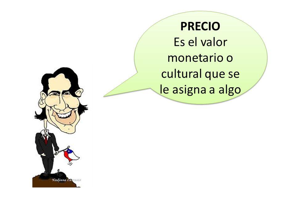 PRECIO Es el valor monetario o cultural que se le asigna a algo PRECIO Es el valor monetario o cultural que se le asigna a algo
