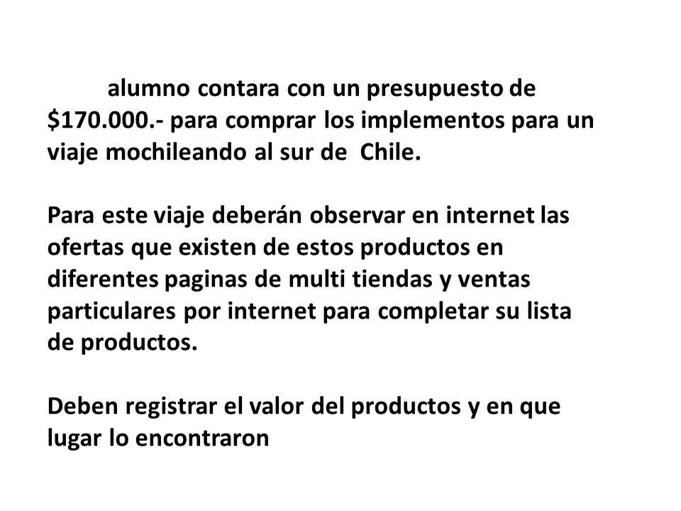 Cada alumno contara con un presupuesto de $170.000.- para comprar los implementos para un viaje mochileando al sur de Chile. Para este viaje deberán o