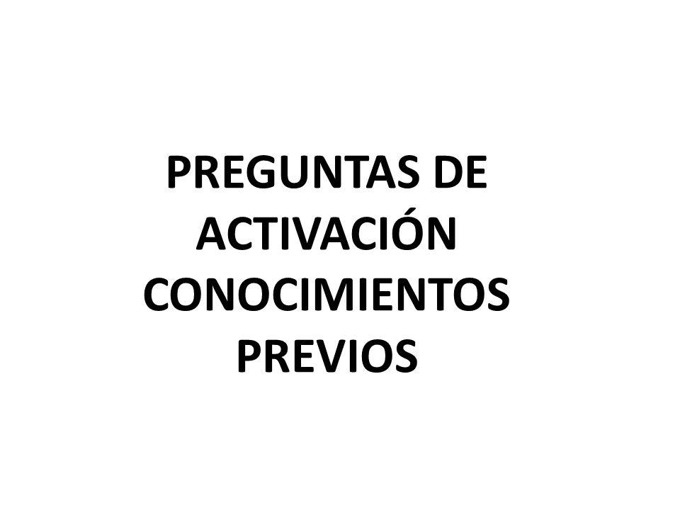 PREGUNTAS DE ACTIVACIÓN CONOCIMIENTOS PREVIOS