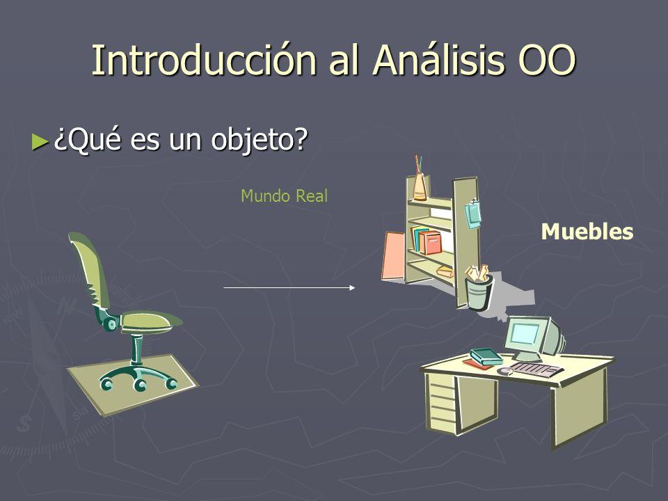 Introducción al Análisis OO ¿Qué es un objeto? ¿Qué es un objeto? Muebles Mundo Real