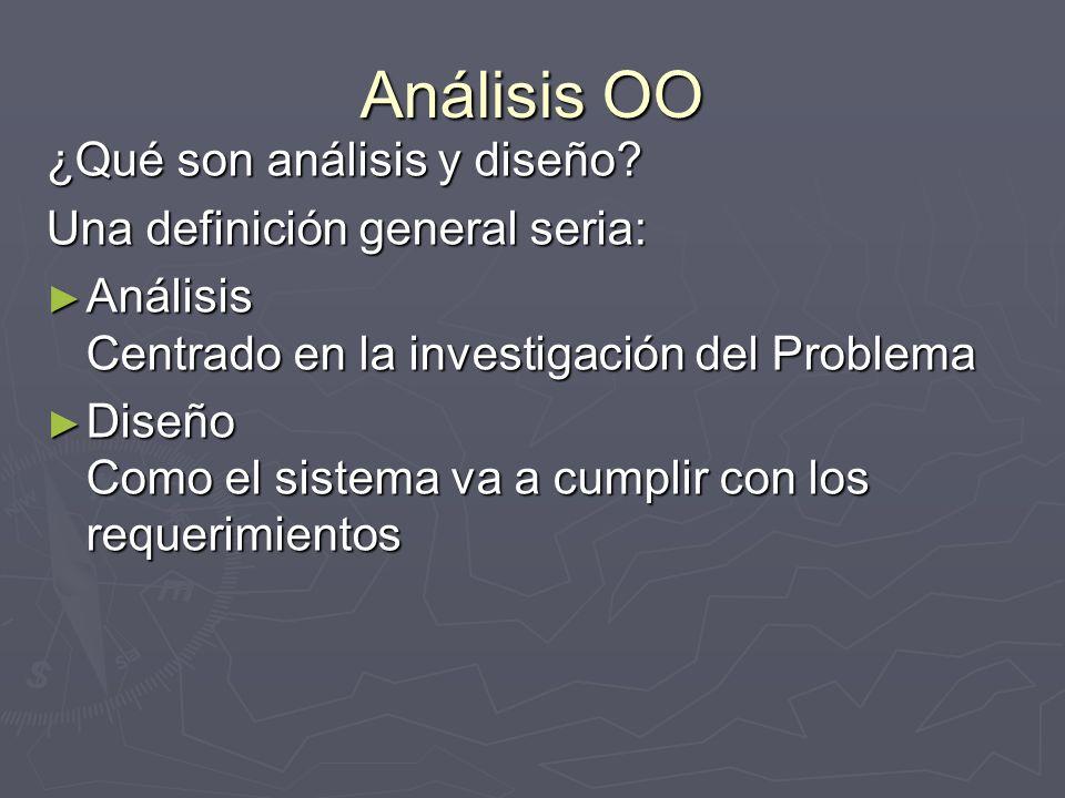 Análisis OO ¿Qué son análisis y diseño? Una definición general seria: Análisis Centrado en la investigación del Problema Análisis Centrado en la inves