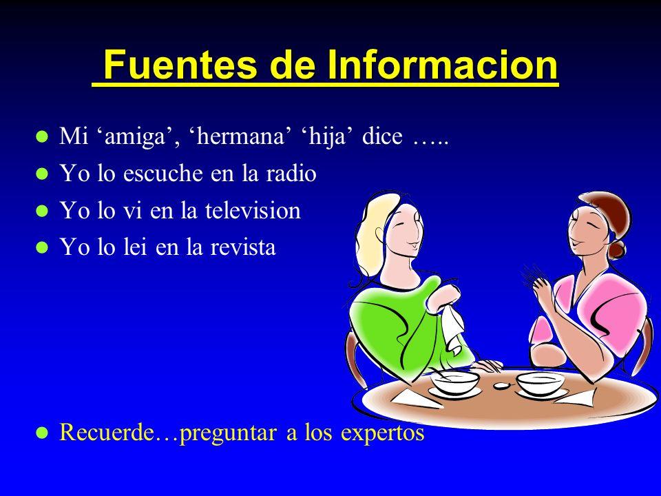 Fuentes de Informacion Fuentes de Informacion Mi amiga, hermana hija dice …..