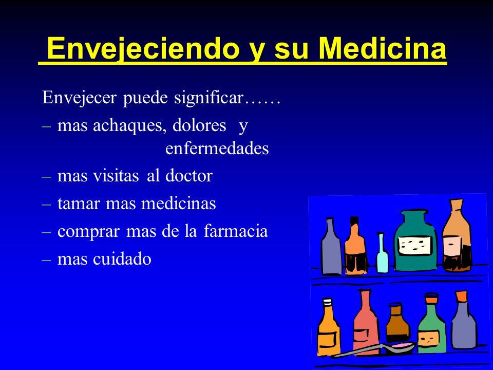 Envejeciendo y su Medicina Envejeciendo y su Medicina Envejecer puede significar…… – mas achaques, dolores y enfermedades – mas visitas al doctor – tamar mas medicinas – comprar mas de la farmacia – mas cuidado