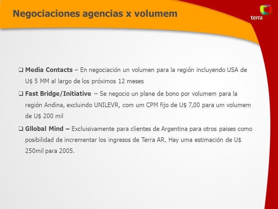 Negociaciones agencias x volumem Media Contacts – En negociación un volumen para la región incluyendo USA de U$ 5 MM al largo de los próximos 12 meses Fast Bridge/Initiative – Se negocio un plane de bono por volumem para la región Andina, excluindo UNILEVR, com um CPM fijo de U$ 7,00 para um volumem de U$ 200 mil Gllobal Mind – Excluisivamente para clientes de Argentina para otros paises como posibilidad de incrementar los ingresos de Terra AR.