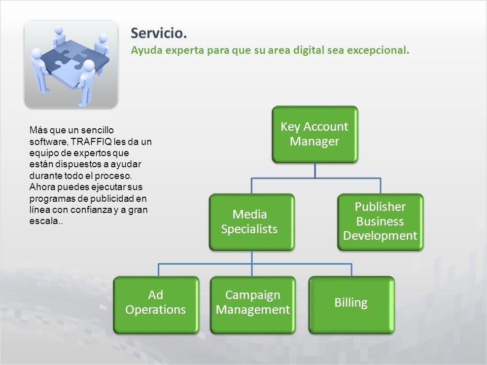 Servicio. Ayuda experta para que su area digital sea excepcional. Más que un sencillo software, TRAFFIQ les da un equipo de expertos que están dispues