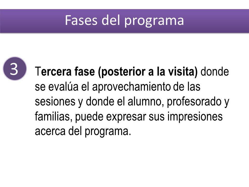 3 T ercera fase (posterior a la visita) donde se evalúa el aprovechamiento de las sesiones y donde el alumno, profesorado y familias, puede expresar sus impresiones acerca del programa.