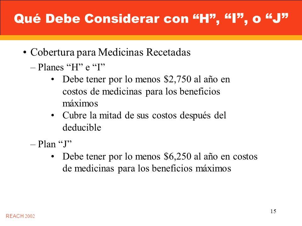 15 Qué Debe Considerar con H, I, o J REACH 2002 Cobertura para Medicinas Recetadas – Planes H e I Debe tener por lo menos $2,750 al año en costos de medicinas para los beneficios máximos Cubre la mitad de sus costos después del deducible – Plan J Debe tener por lo menos $6,250 al año en costos de medicinas para los beneficios máximos