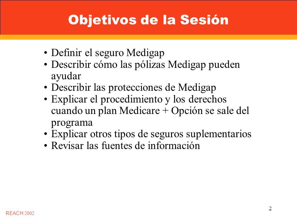 2 Objetivos de la Sesión Definir el seguro Medigap Describir cómo las pólizas Medigap pueden ayudar Describir las protecciones de Medigap Explicar el procedimiento y los derechos cuando un plan Medicare + Opción se sale del programa Explicar otros tipos de seguros suplementarios Revisar las fuentes de información REACH 2002