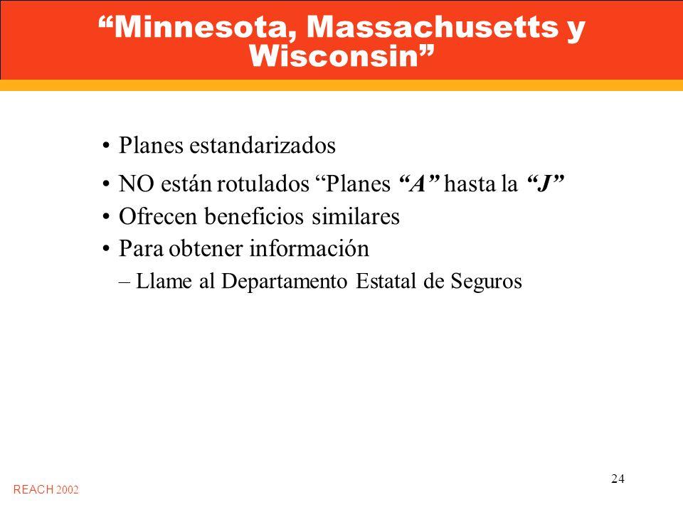 24 Minnesota, Massachusetts y Wisconsin REACH 2002 Planes estandarizados NO están rotulados Planes A hasta la J Ofrecen beneficios similares Para obtener información –Llame al Departamento Estatal de Seguros