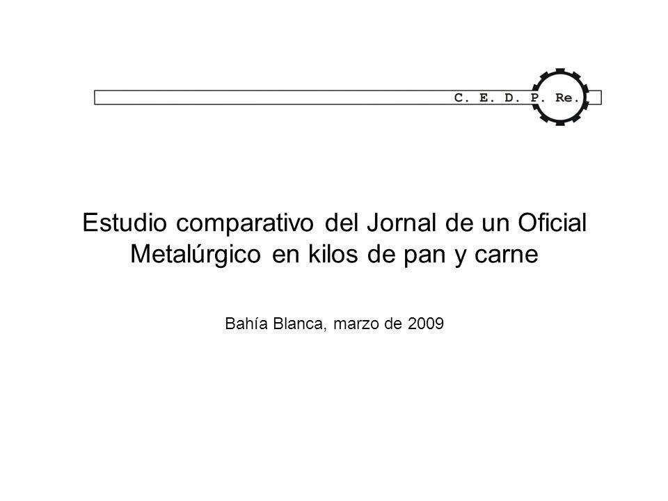Estudio comparativo del Jornal de un Oficial Metalúrgico en kilos de pan y carne Bahía Blanca, marzo de 2009