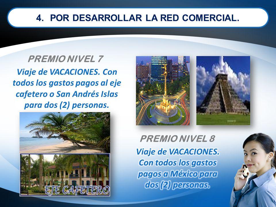 Viaje de VACACIONES. Con todos los gastos pagos al eje cafetero o San Andrés Islas para dos (2) personas. PREMIO NIVEL 7 PREMIO NIVEL 8 4.POR DESARROL
