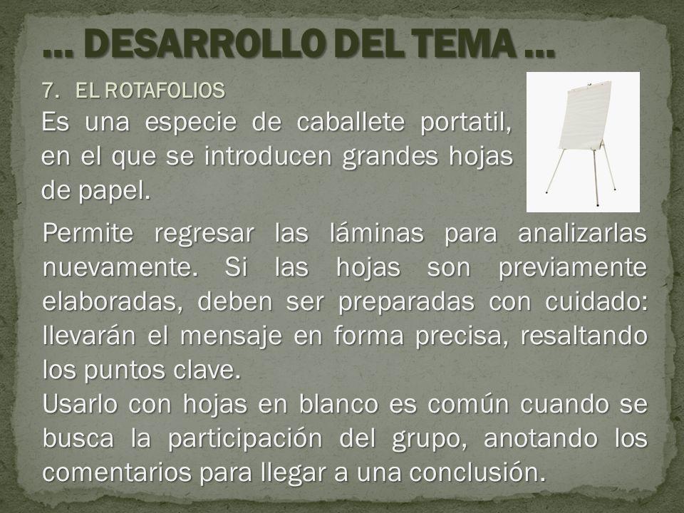 7.EL ROTAFOLIOS Es una especie de caballete portatil, en el que se introducen grandes hojas de papel. Permite regresar las láminas para analizarlas nu
