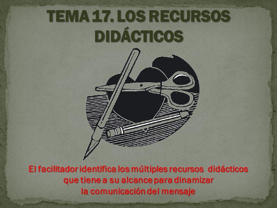 El facilitador identifica los múltiples recursos didácticos que tiene a su alcance para dinamizar la comunicación del mensaje