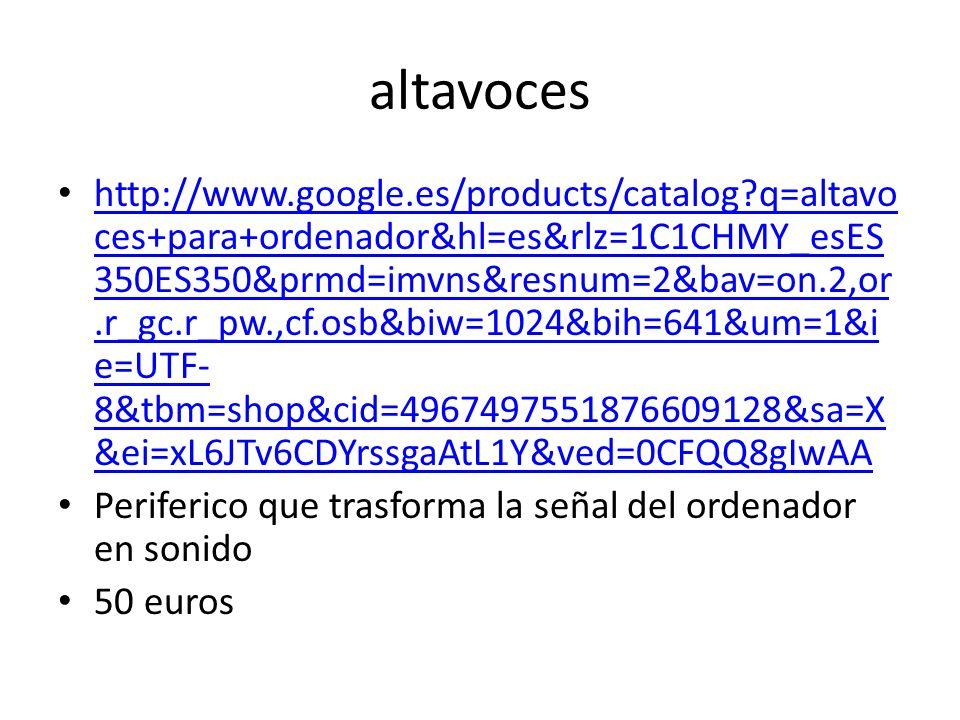 altavoces http://www.google.es/products/catalog q=altavo ces+para+ordenador&hl=es&rlz=1C1CHMY_esES 350ES350&prmd=imvns&resnum=2&bav=on.2,or.r_gc.r_pw.,cf.osb&biw=1024&bih=641&um=1&i e=UTF- 8&tbm=shop&cid=4967497551876609128&sa=X &ei=xL6JTv6CDYrssgaAtL1Y&ved=0CFQQ8gIwAA http://www.google.es/products/catalog q=altavo ces+para+ordenador&hl=es&rlz=1C1CHMY_esES 350ES350&prmd=imvns&resnum=2&bav=on.2,or.r_gc.r_pw.,cf.osb&biw=1024&bih=641&um=1&i e=UTF- 8&tbm=shop&cid=4967497551876609128&sa=X &ei=xL6JTv6CDYrssgaAtL1Y&ved=0CFQQ8gIwAA Periferico que trasforma la señal del ordenador en sonido 50 euros