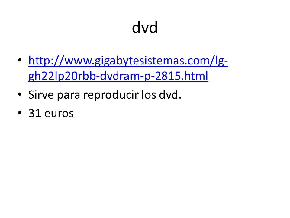 dvd http://www.gigabytesistemas.com/lg- gh22lp20rbb-dvdram-p-2815.html http://www.gigabytesistemas.com/lg- gh22lp20rbb-dvdram-p-2815.html Sirve para reproducir los dvd.
