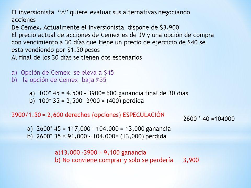 El inversionista A quiere evaluar sus alternativas negociando acciones De Cemex.