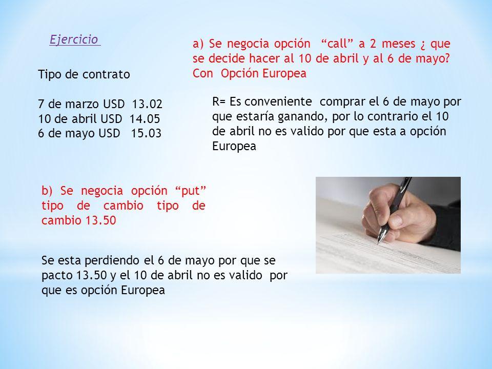 Tipo de contrato 7 de marzo USD 13.02 10 de abril USD 14.05 6 de mayo USD 15.03 Ejercicio a) Se negocia opción call a 2 meses ¿ que se decide hacer al 10 de abril y al 6 de mayo.