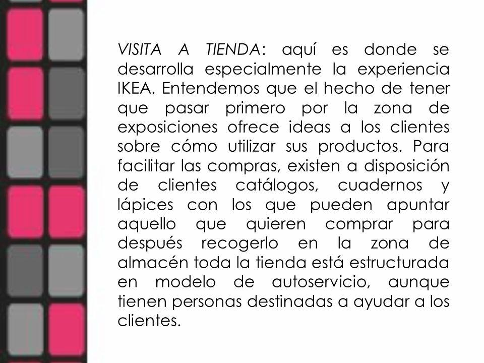 VISITA A TIENDA: aquí es donde se desarrolla especialmente la experiencia IKEA. Entendemos que el hecho de tener que pasar primero por la zona de expo