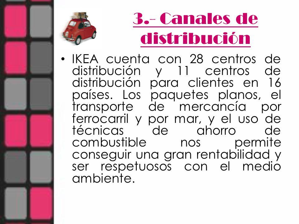 3.- Canales de distribución IKEA cuenta con 28 centros de distribución y 11 centros de distribución para clientes en 16 países. Los paquetes planos, e