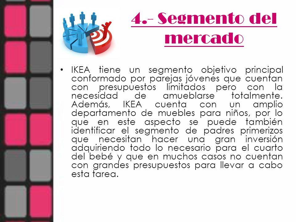 4.- Segmento del mercado IKEA tiene un segmento objetivo principal conformado por parejas jóvenes que cuentan con presupuestos limitados pero con la n