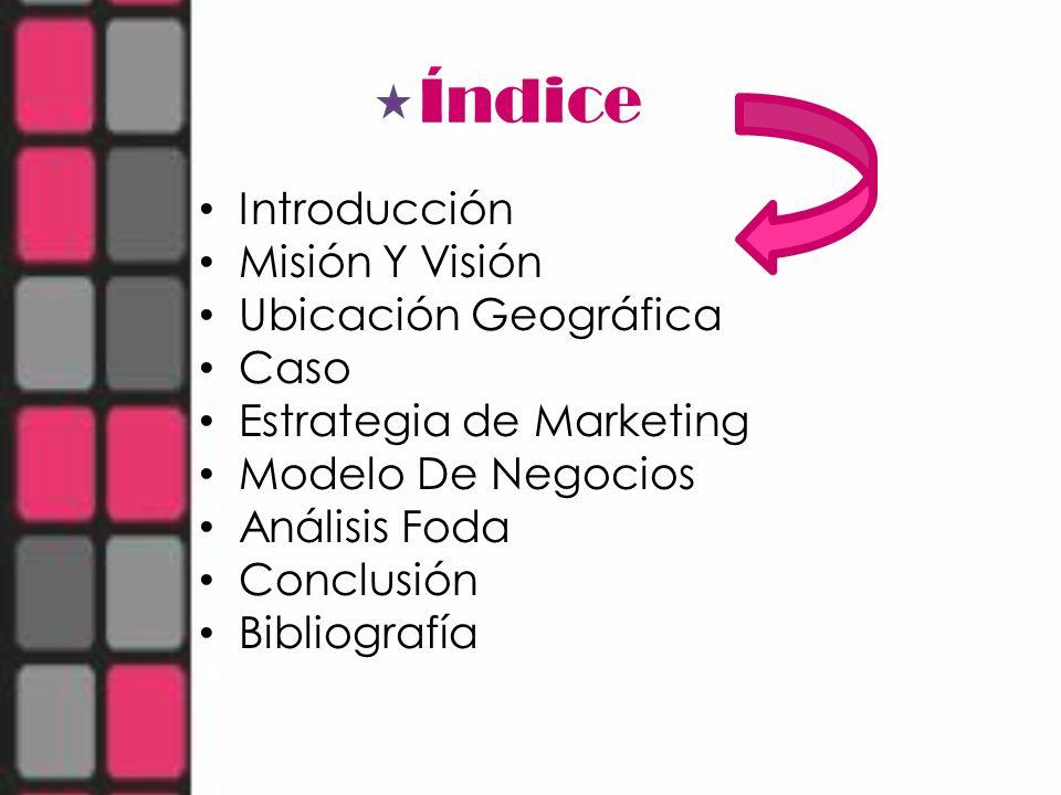 Índice Introducción Misión Y Visión Ubicación Geográfica Caso Estrategia de Marketing Modelo De Negocios Análisis Foda Conclusión Bibliografía