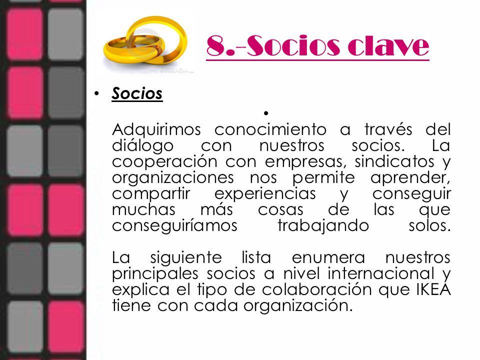 8.-Socios clave Socios Adquirimos conocimiento a través del diálogo con nuestros socios. La cooperación con empresas, sindicatos y organizaciones nos