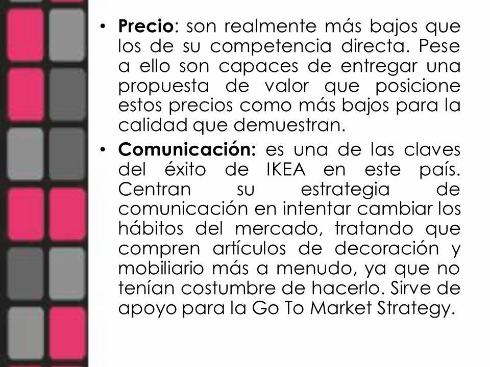 Go to Market Strategy : En este caso uno de los puntos de mayor éxito del modelo, es donde se crea verdaderamente la experiencia IKEA, que se ve reforzada por el monto anterior, la comunicación, ya que van creando un ambiente propicio con la sugerencia de tomar medidas de los muebles o espacios a rellenar.