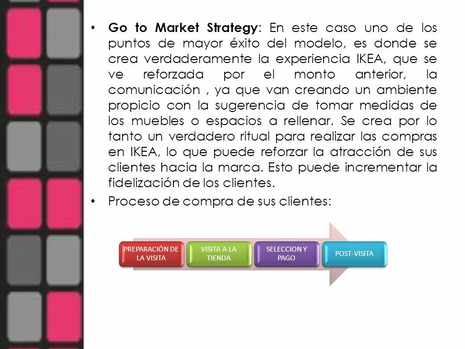 Go to Market Strategy : En este caso uno de los puntos de mayor éxito del modelo, es donde se crea verdaderamente la experiencia IKEA, que se ve refor