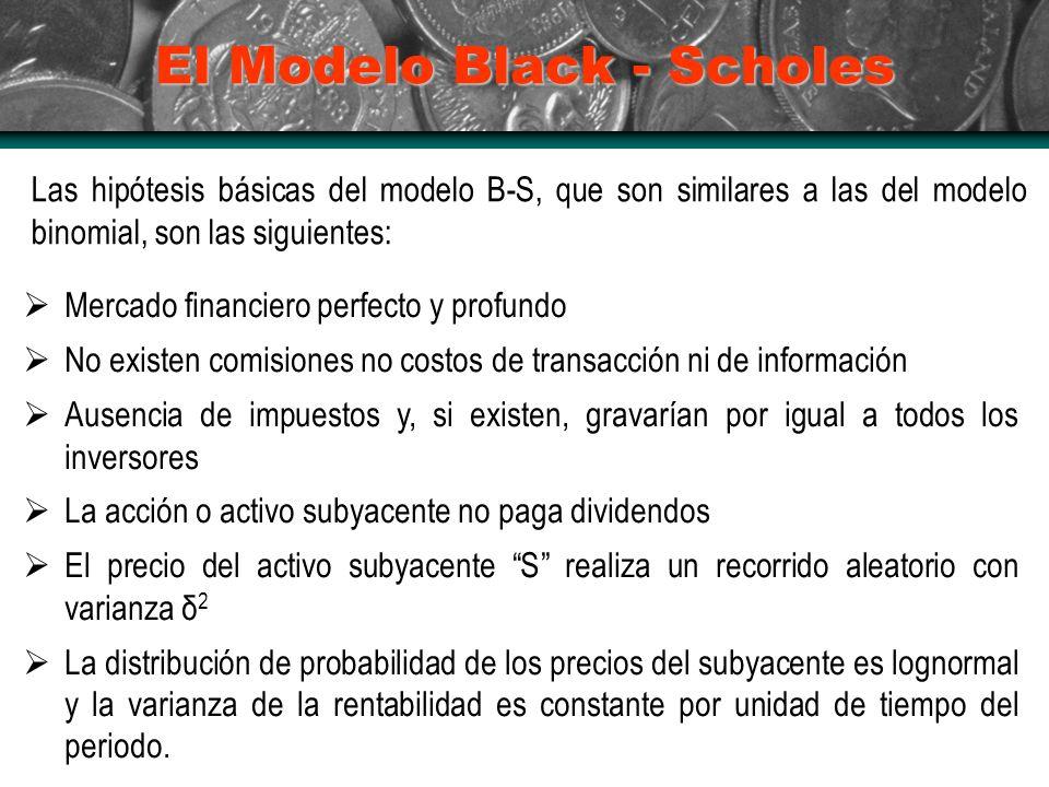 El Modelo Black - Scholes Las hipótesis básicas del modelo B-S, que son similares a las del modelo binomial, son las siguientes: Mercado financiero perfecto y profundo No existen comisiones no costos de transacción ni de información Ausencia de impuestos y, si existen, gravarían por igual a todos los inversores La acción o activo subyacente no paga dividendos El precio del activo subyacente S realiza un recorrido aleatorio con varianza δ 2 La distribución de probabilidad de los precios del subyacente es lognormal y la varianza de la rentabilidad es constante por unidad de tiempo del periodo.