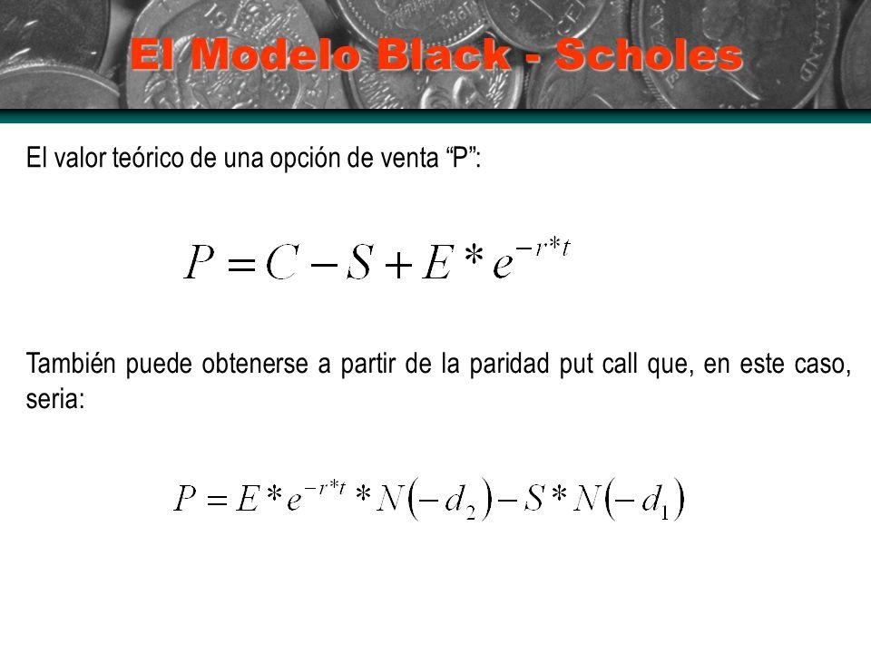 El Modelo Black - Scholes El valor teórico de una opción de venta P: También puede obtenerse a partir de la paridad put call que, en este caso, seria: