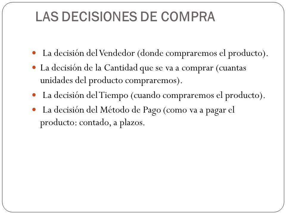 LAS DECISIONES DE COMPRA La decisión del Vendedor (donde compraremos el producto).