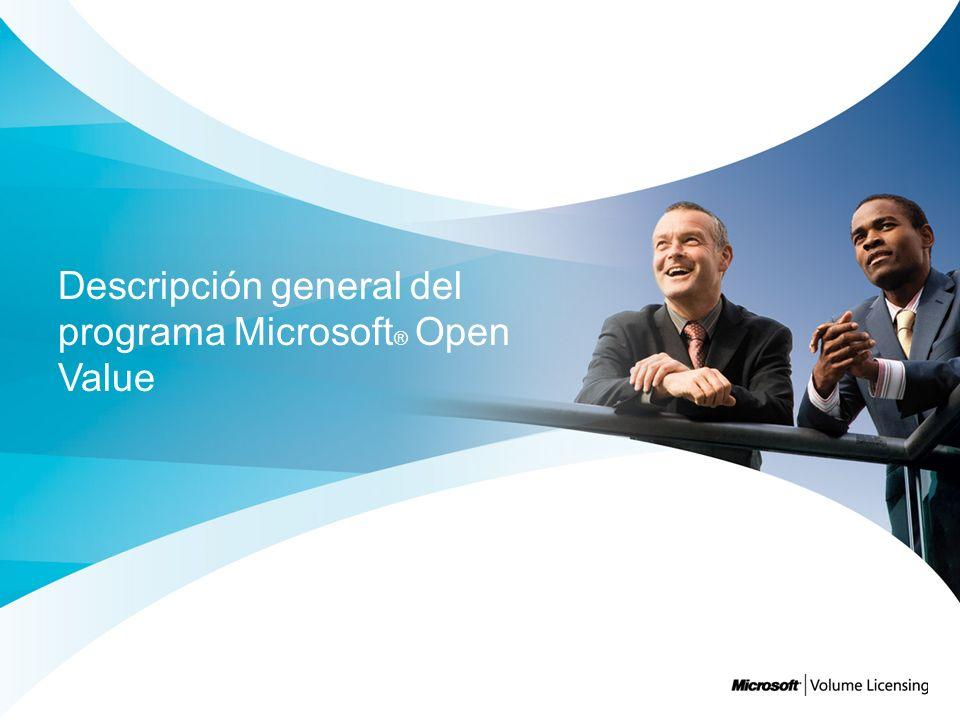 Agenda Cómo elegir un Programa de licenciamiento por volumen Descripción general de Open Value Detalles del beneficio de Open Value Herramientas y recursos de Software Assurance Cómo comenzar con Open Value