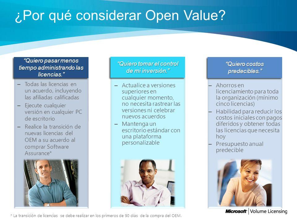 Descripción general de Open Value El programa Microsoft® Open Value es para organizaciones pequeñas y medianas del sector comercial y gubernamental con cinco o más PCs de escritorio que desean una administración de licencias simplificada y un mejor control de sus costos e inversión en software.