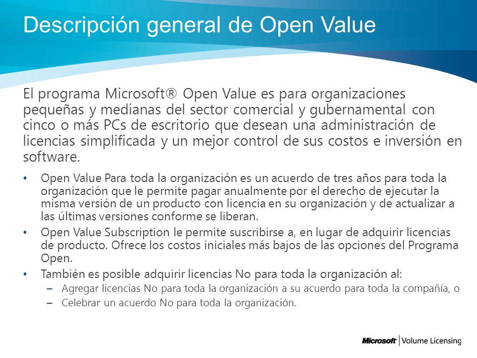 Mejor administración de costos Con Open Value Con Open Value usted puede adquirir todas las licencias que necesita hoy y diferir sus costos en tres años: –Costos reducidos en el primer año.