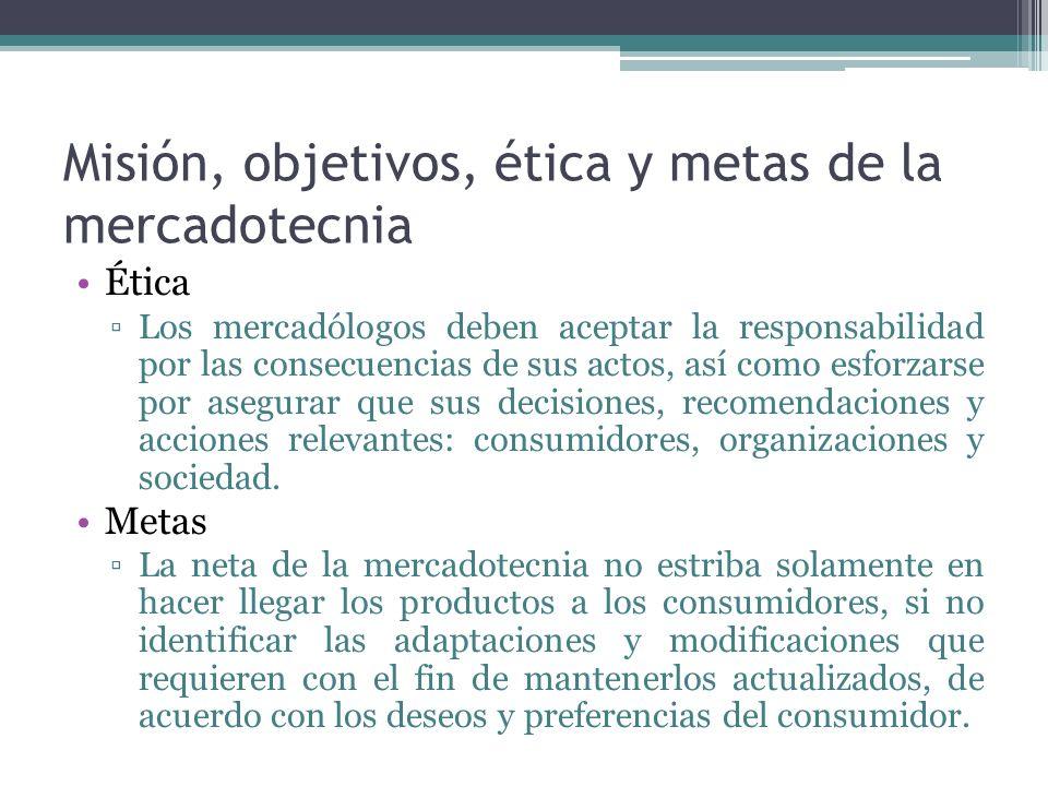 Misión, objetivos, ética y metas de la mercadotecnia Ética Los mercadólogos deben aceptar la responsabilidad por las consecuencias de sus actos, así como esforzarse por asegurar que sus decisiones, recomendaciones y acciones relevantes: consumidores, organizaciones y sociedad.