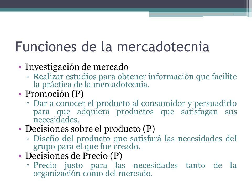 Funciones de la mercadotecnia Investigación de mercado Realizar estudios para obtener información que facilite la práctica de la mercadotecnia. Promoc