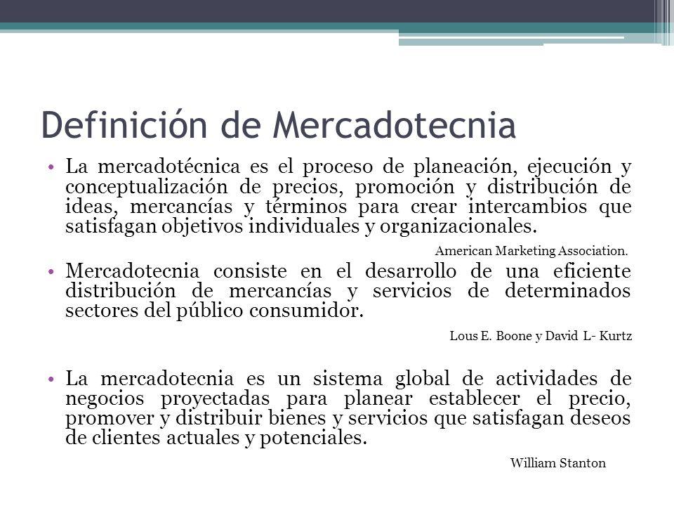 Definición de Mercadotecnia La mercadotécnica es el proceso de planeación, ejecución y conceptualización de precios, promoción y distribución de ideas