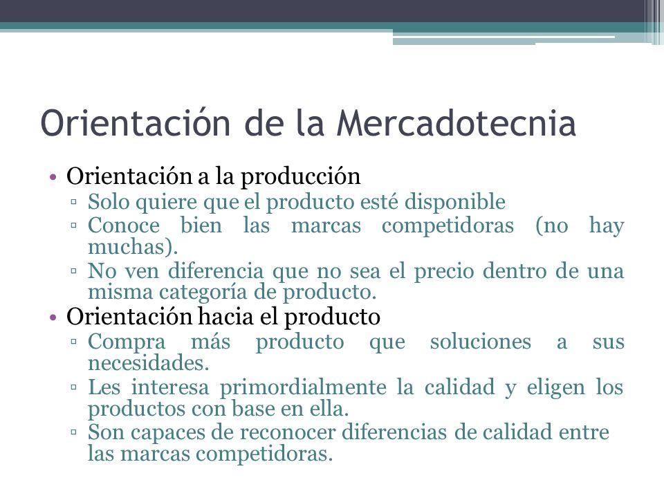 Orientación de la Mercadotecnia Orientación a la producción Solo quiere que el producto esté disponible Conoce bien las marcas competidoras (no hay mu