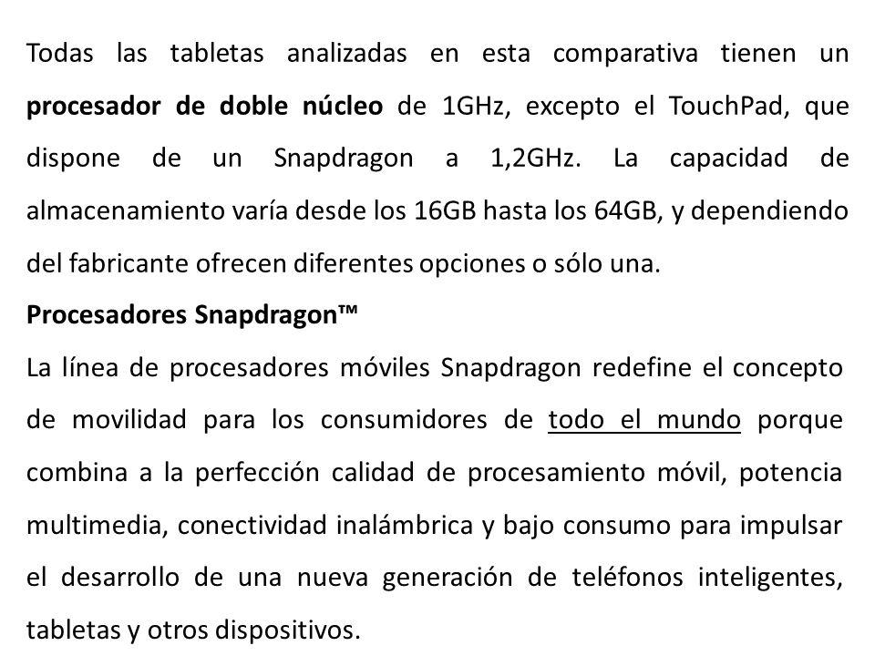 Todas las tabletas analizadas en esta comparativa tienen un procesador de doble núcleo de 1GHz, excepto el TouchPad, que dispone de un Snapdragon a 1,2GHz.