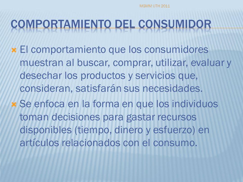 El comportamiento que los consumidores muestran al buscar, comprar, utilizar, evaluar y desechar los productos y servicios que, consideran, satisfarán