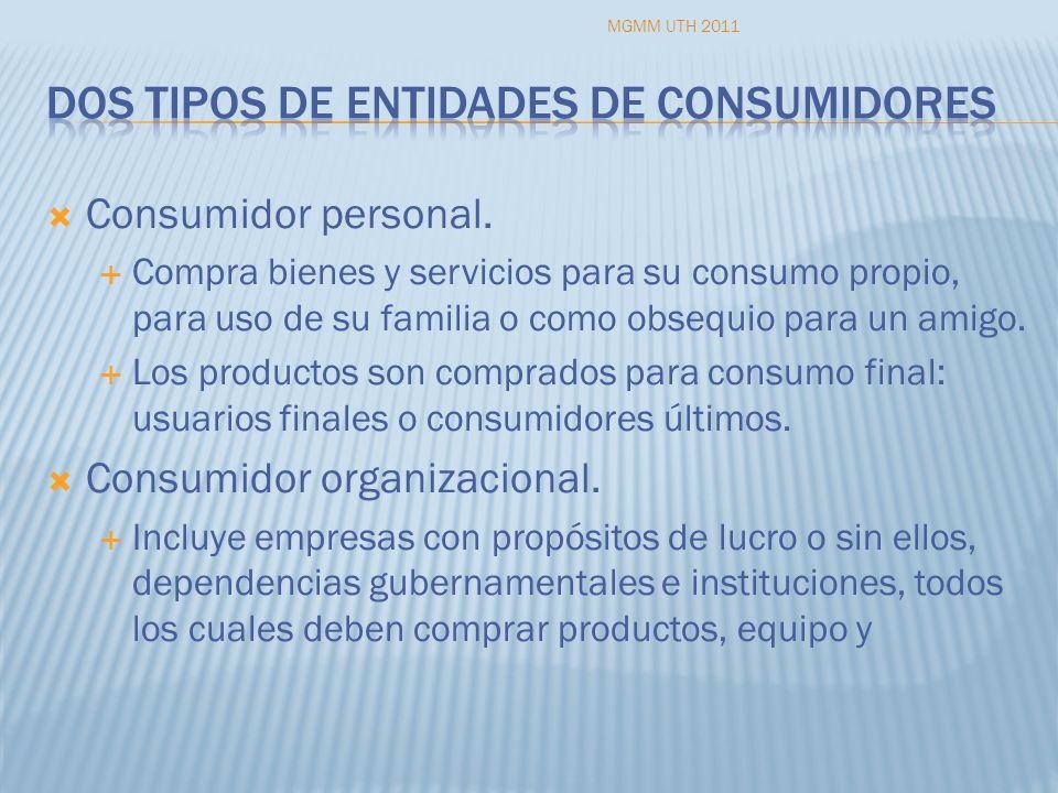 Consumidor personal. Compra bienes y servicios para su consumo propio, para uso de su familia o como obsequio para un amigo. Los productos son comprad