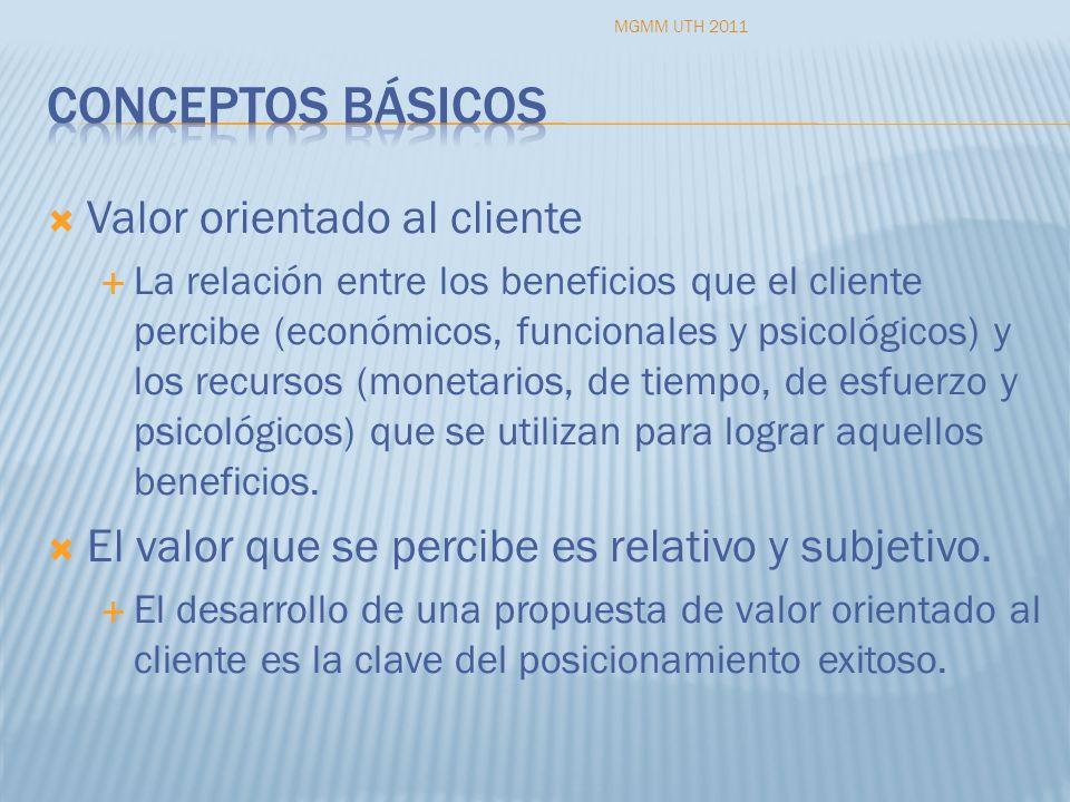 Valor orientado al cliente La relación entre los beneficios que el cliente percibe (económicos, funcionales y psicológicos) y los recursos (monetarios