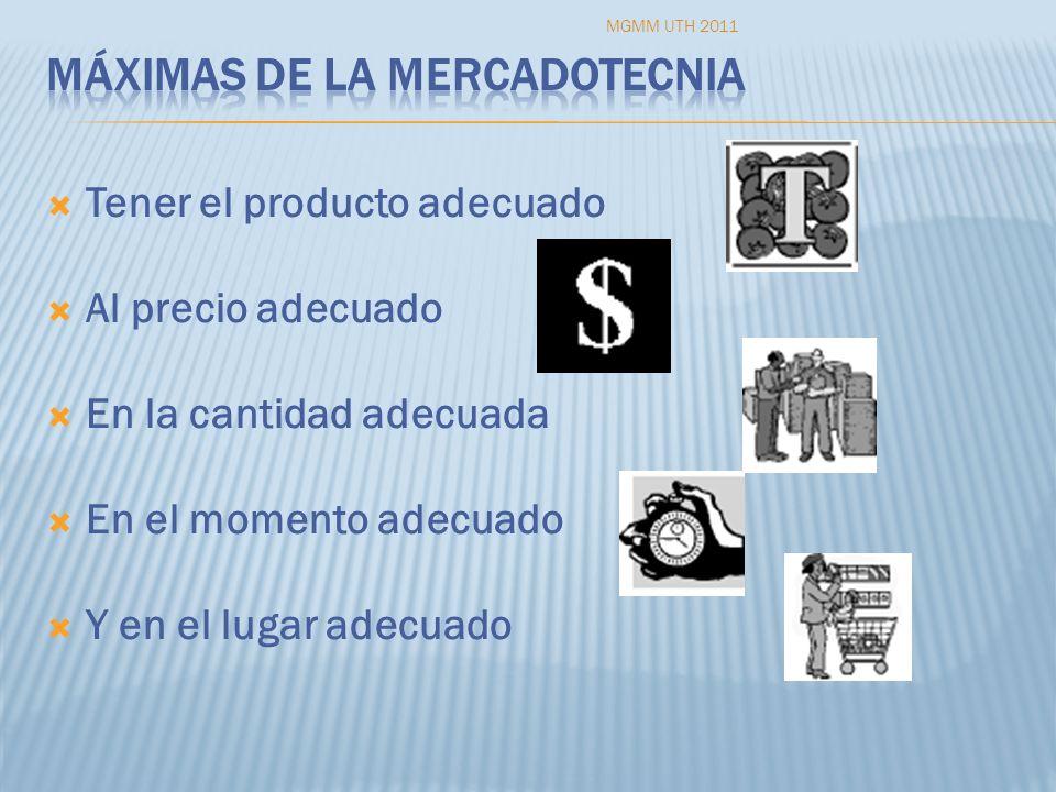 Tener el producto adecuado Al precio adecuado En la cantidad adecuada En el momento adecuado Y en el lugar adecuado MGMM UTH 2011