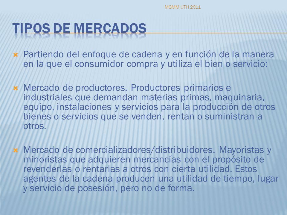 Partiendo del enfoque de cadena y en función de la manera en la que el consumidor compra y utiliza el bien o servicio: Mercado de productores. Product