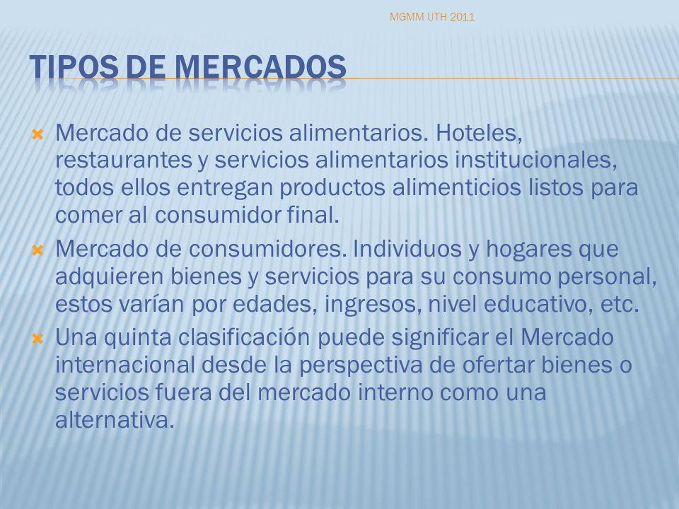 Mercado de servicios alimentarios. Hoteles, restaurantes y servicios alimentarios institucionales, todos ellos entregan productos alimenticios listos